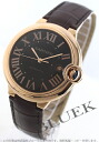 Cartier Ballon blue PG pure gold automatic alligator Leather Brown men's W6920037