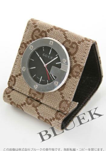 グッチ 置時計 キャンバスレザー ブラウン/ブラック アラーム付