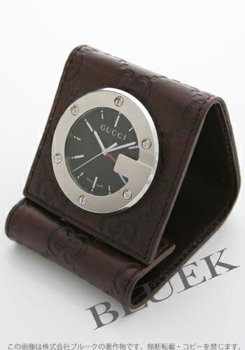 グッチ 置時計 レザー ブラウン/ブラック アラーム付 YC200002
