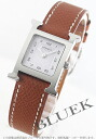 HERMES H watch leather brown / white Lady's 036702WW00