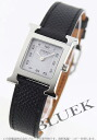HERMES H watch leather black / white Lady's 036704WW00