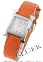 HERMES H watch leather orange / white Lady's 036707WW00