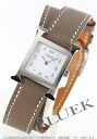 HERMES H watch do bulldog Tours leather beige / white Lady's 036721WW00