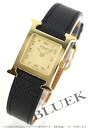 HERMES H watch leather black /GP gold Lady's 036730WW00