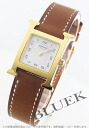 HERMES H watch leather brown /GP white Lady's 036734WW00