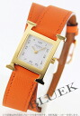 HERMES H watch do bulldog Tours leather orange /GP white Lady's 036738WW00