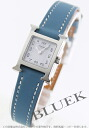HERMES H watch leather blue Gene / white Lady's mini-037879WW00