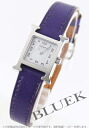 HERMES H watch leather purple / white Lady's mini-037885WW00