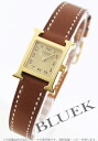 HERMES H watch leather brown /GP gold Lady's mini-037964WW00
