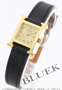 HERMES H watch leather black /GP gold Lady's mini-037994WW00