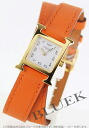 HERMES H watch do bulldog Tours leather orange /GP white Lady's mini-038179WW00