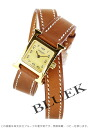 HERMES H watch do bulldog Tours leather brown /GP gold Lady's mini-039353WW00 watch clock (hermes watch watch new article woman business pretty fashion brand present gift present leather belt she) who is pleased with
