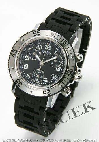 エルメス クリッパー ダイバー クロノグラフ ラバー ブラック ホワイトインデックス レディース CL2.315.330/3775