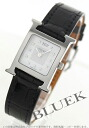 Hermes H Watch Diamond index enamel leather black / white shell Womens 036749WW00