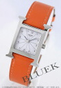 HERMES H watch leather orange / white Lady's HH1.210.132/WOR