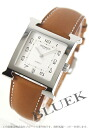 HERMES H watch automatic leather brown / silver men large HH2.810.220/VBA