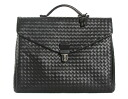ボッテガヴェネタ BOTTEGA VENETA calf-leather business bag black 122139