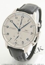 IWC Portuguese automatic chronograph crocodile leather Navy / white mens IW371417