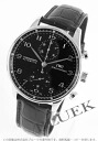 IWC ボルトギーゼ automatic chronograph crocodile leather black mens IW371438