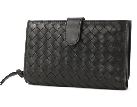 ボッテガヴェネタ シープスキン 二つ折財布 ブラック 121060