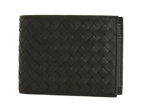 ボッテガヴェネタ カーフレザー 二つ折財布 ブラック 113112