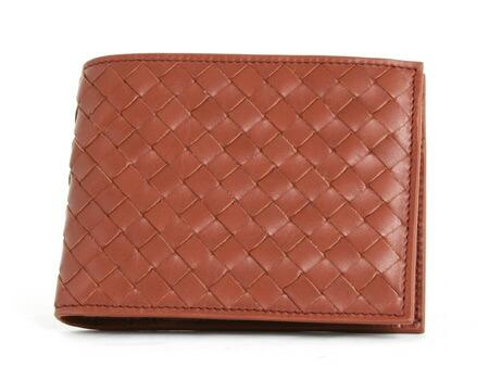 ボッテガヴェネタ カーフレザー 二つ折財布 ブラウン 113112