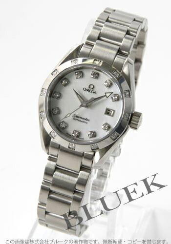 オメガ シーマスター アクアテラ 2564.75 ダイヤモンド オートマチック ホワイトシェル レディース