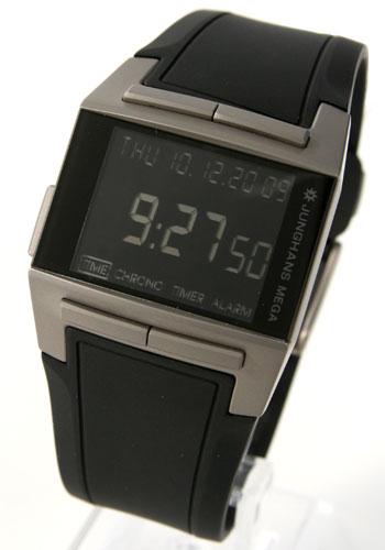 ユンハンス メガ1000 チタン 電波時計 デジタル クロノグラフ ラバー ブラック メンズ026/2801.00