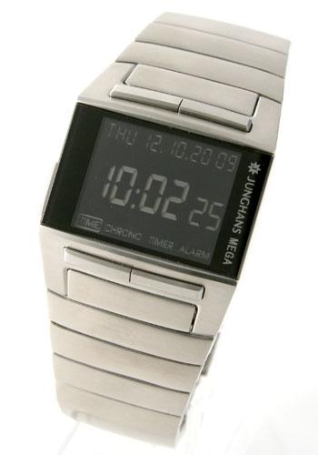 ユンハンス メガ1000 電波時計 デジタル クロノグラフ ブラック メンズ026/4512.44