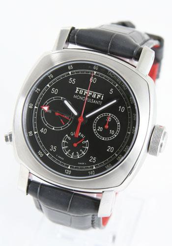 パネライ フェラーリ グランツーリズモ 8デイズ 手巻 クロノ GMT レザー ダークグレー/ブラック メンズ 替ベルト付 FER00020