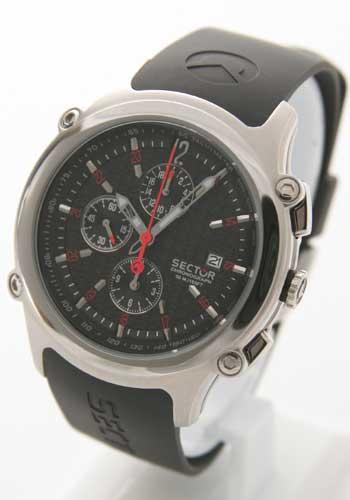 セクター 400 クロノグラフ ラバー ブラック メンズ B1.400C.025