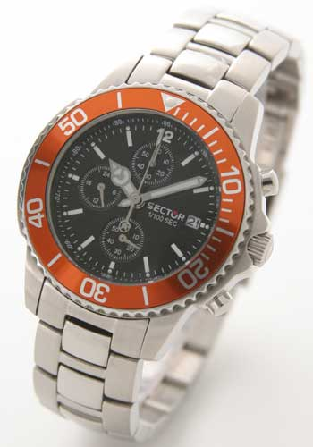 セクター 200 クロノグラフ ブラック オレンジベゼル メンズ B3.200C.155