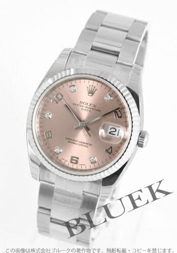 ロレックス Ref.115234G オイスターパーペチュアル デイト 5Pダイヤ WGベゼル ピンク アラビア メンズ