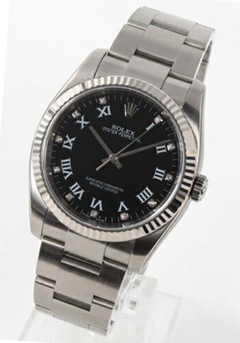 ロレックス Ref.116034 オイスターパーペチュアル WGベゼル ダイヤインデックス ブラック ローマン メンズ
