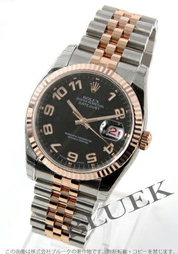 ロレックス Ref.116231 デイトジャスト PGコンビ ブラック(コンセントリック) アラビア メンズ