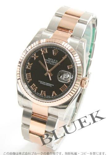 ロレックス Ref.116231 デイトジャスト PGコンビ 3連ブレス ブラック ローマン メンズ