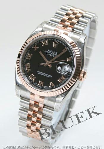 ロレックス Ref.116231 デイトジャスト PGコンビ 5連ブレス ブラック ローマン メンズ