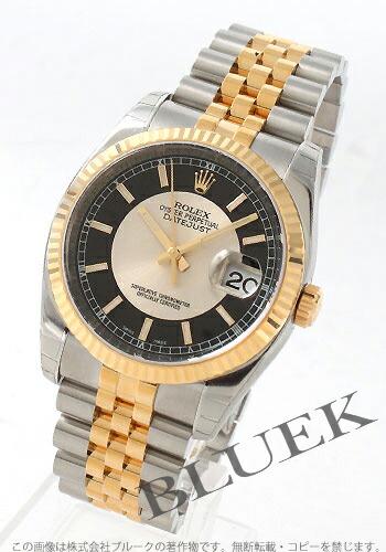 ロレックス Ref.116233 デイトジャスト YGコンビ ブラック&シルバー メンズ