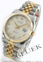 Rolex date just Ref.116233J YG combination diamond index silver men