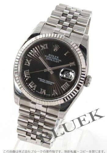 ロレックス Ref.116234 デイトジャスト WGベゼル 5連ブレス ブラック(サンビーム) ローマン メンズ