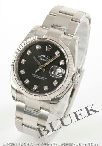 ロレックス Ref.116234 デイトジャスト ダイヤインデックス WGベゼル 3連ブレス ブラック メンズ