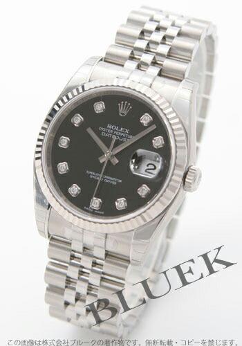 ロレックス Ref.116234G デイトジャスト ダイヤインデックス WGベゼル 5連ブレス ブラック メンズ