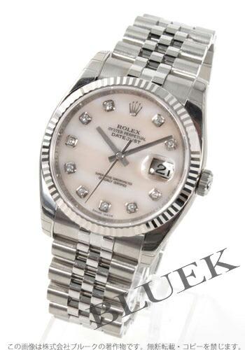 ロレックス Ref.116234NG デイトジャスト ダイヤインデックス WGベゼル ピンクシェル メンズ