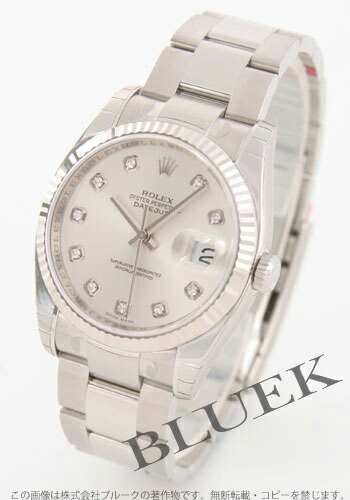 ロレックス Ref.116234G デイトジャスト ダイヤインデックス WGベゼル 3連ブレス シルバー メンズ