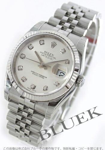 ロレックス Ref.116234G デイトジャスト ダイヤインデックス WGベゼル 5連ブレス シルバー メンズ