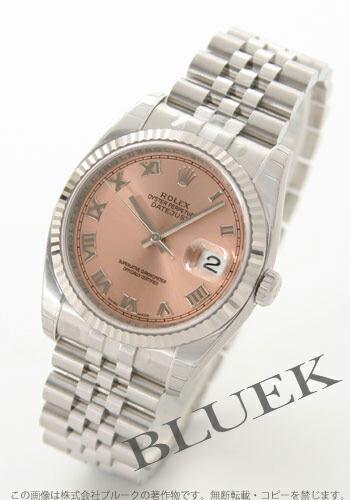 ロレックス Ref.116234 デイトジャスト WGベゼル 5連ブレス ピンク ローマン メンズ