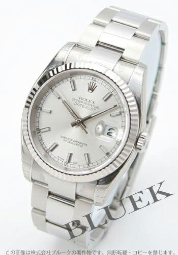 ロレックス Ref.116234 デイトジャスト WGベゼル 3連ブレス シルバー メンズ