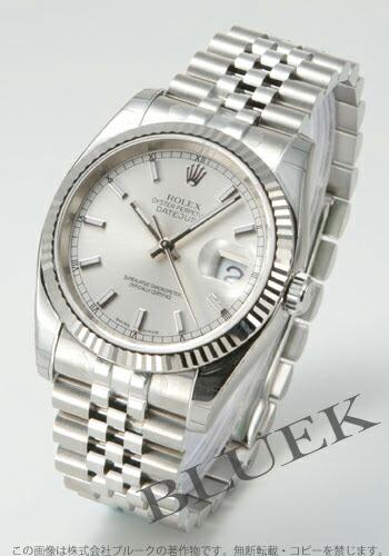 ロレックス Ref.116234 デイトジャスト WGベゼル 5連ブレス シルバー メンズ