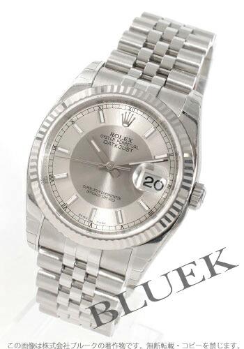 ロレックス Ref.116234 デイトジャスト WGベゼル 5連ブレス シルバー&グレー メンズ