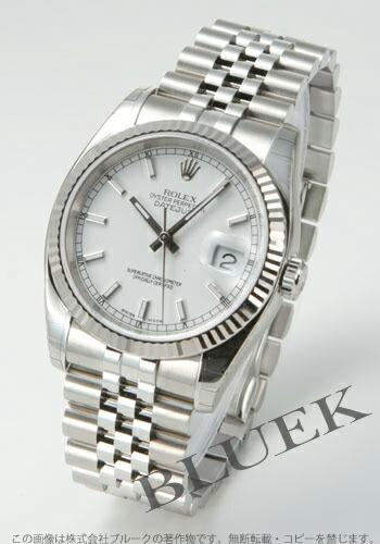 ロレックス Ref.116234 デイトジャスト WGベゼル 5連ブレス ホワイト メンズ